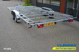 Tiny House dubbelas trailer met platform afmeting 602x244cm en 3500kg as._