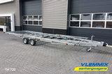 Tiny House plateau dubbelas trailer met platform afmeting 720x244cm en 3500kg as._
