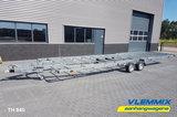 Tiny House plateau dubbelas trailer met platform afmeting 840x244cm en 3500kg as._