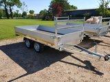 Plateauwagen ongeremd 310x160cm - dubelas- 30cm borden - laadvloer 63cm_