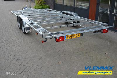 Tiny House dubbelas trailer met platform afmeting 395x201cm en 2700kg as.