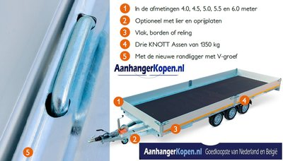 Plateauwagen [drieasser] 456x200cm - 3500kg - 63cm- tripleas-