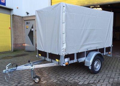 Enkelas ongeremde bakwagen 257x132cm - 750kg incl. huif 150cm