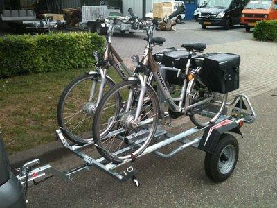 Fietsaanhangwagen met Spinder klem geschikt voor 2 elektrische fietsen