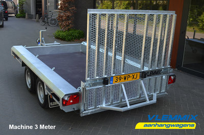 S. Vlemmix Machinetransporter 300x153cm 3500kg Dubbelas