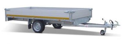 Plateauwagen ongeremd 260x150cm - enkelas - 30cm borden - laadvloer 63cm