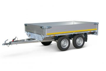 Plateauwagen ongeremd 260x150cm - dubbelas - 30cm borden - laadvloer 63cm