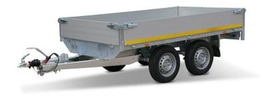 b. Plateauwagen 260x150cm - 2000kg - 72cm of 63cm- dubbelas
