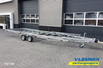 Tiny House plateau dubbelas trailer met platform afmeting 720x244cm en 3500kg as.