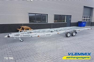 Tiny House plateau dubbelas trailer met platform afmeting 780x244cm en 3500kg as.