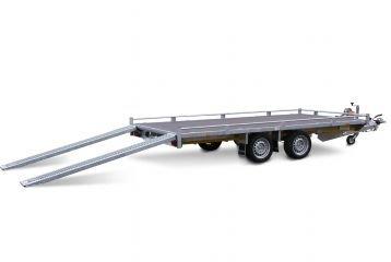 Multitransporter 400x200cm - 2700kg - 63cm- dubbelas - Incl. rijplaten en lier