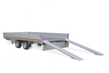 Multitransporter 400x200cm - 3500kg - 63cm- dubbelas - borden 30cm - Incl. rijplaten en lier
