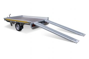 Multitransporter 260x150cm - 1350kg - 56cm- enkelas - Incl. rijplaten en lier