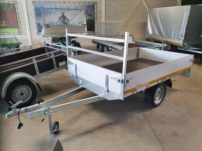 Plateauwagen ongeremd 250x145cm - enkelas - 30cm borden - laadvloer 63cm