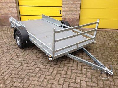 Twin enkelas koetsaanhangwagen 307x157cm met rijplaten