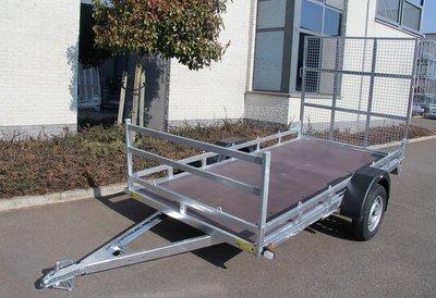 Twin enkelas koetsaanhangwagen 307x157cm met brede rijplaat