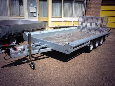 Hulco Machinetransporte 394x180cm 3500kg drieasser - klep 100cm