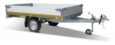 Plateauwagen ongeremd 310x160cm - enkelas - 30cm borden - laadvloer 72cm