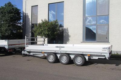 Plateauwagen 607x207cm - drieasser- 3500kg - 3x 1350kg - Bladveren